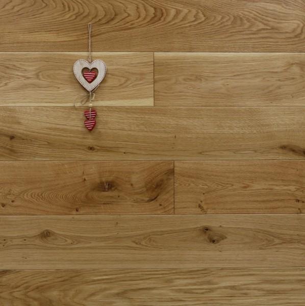 Eiche Schlossdielen aus massivem Holz, 21 x 180 / 200 mm von 2600 bis 5000 mm, Abmessungen nach Ihren Vorgaben, seidenmatt lackiert, Kanten gefast, Nut / Feder Verbindung, Sonderanfertigung nach Kundenwunsch