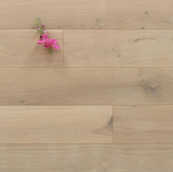 Eiche Schlossdielen aus massivem Holz, 20 x 180 / 200 mm von 1800 bis 5100 mm, mit einem Naturöl weiß geölt, Kanten gefast, Nut / Feder Verbindung, Sonderanfertigung nach Kundenwunsch