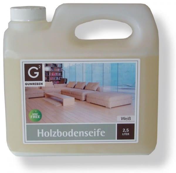 Gunreben Holzbodenseife weiß, Kanister mit 2,5 Liter, für die wiederkehrende Reinigung weiß geölter Holzböden