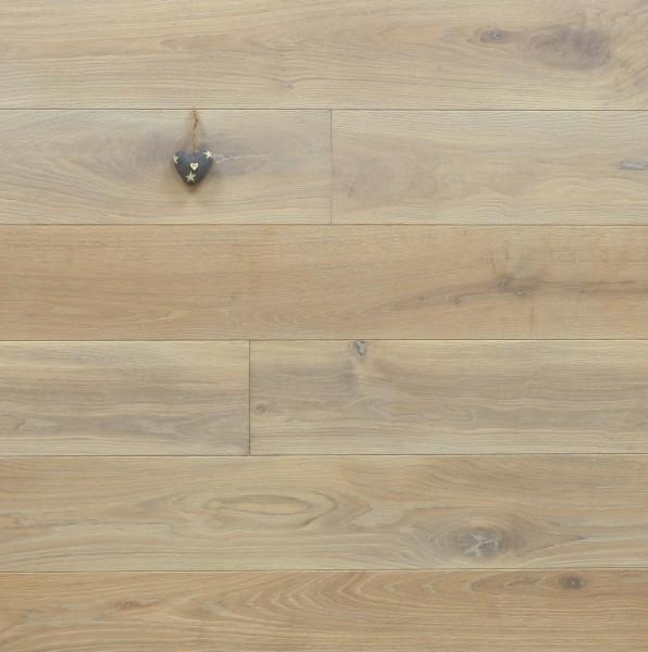 Eiche Schlossdielen aus massivem Holz, 21 x 180 / 200 mm von 2600 bis 5000 mm, Abmessungen nach Ihren Vorgaben, mit Rubio Monocoat R308 cotton white geölt, Kanten gefast, Nut / Feder Verbindung, Sonderanfertigung nach Kundenwunsch