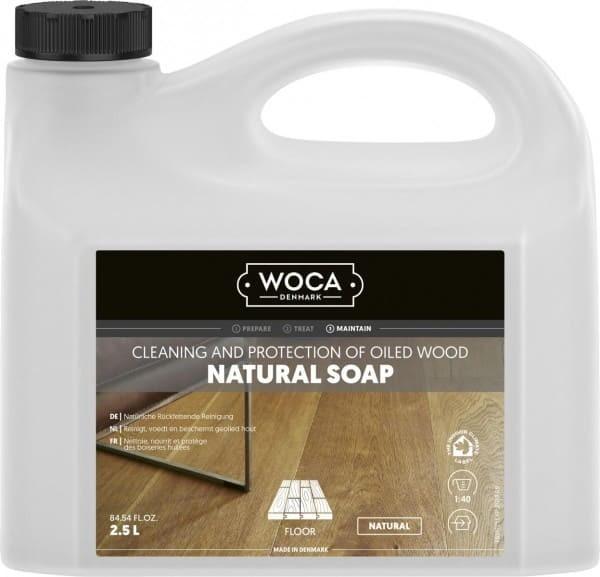 WOCA Holzbodenseife natur, Kanister mit 2,5 Liter, für die wiederkehrende Reinigung geölter Holzböden