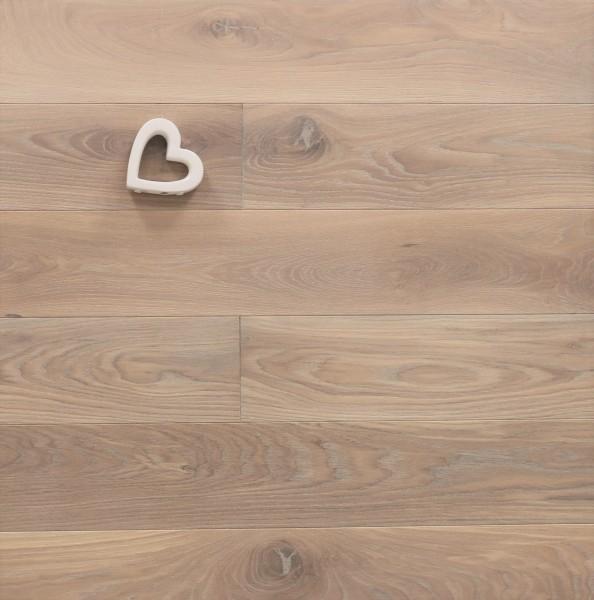 Eiche Schlossdielen aus massivem Holz, 21 x 180 / 200 mm von 2600 bis 5000 mm, Abmessungen nach Ihren Vorgaben, mit Rubio Monocoat R331 weiß geölt, Kanten gefast, Nut / Feder Verbindung, Sonderanfertigung nach Kundenwunsch